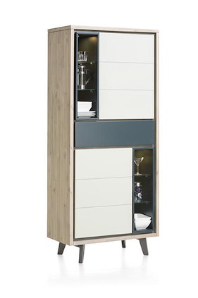 Jade, Armoire 2-portes + 1-tiroir + 6-niches - 85 Cm (+ Led)