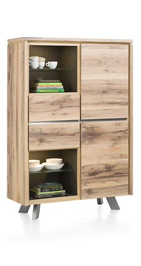 Ermont, Highboard 2-portes + 2-tiroirs + 4-niches -115 Cm (+ Led)