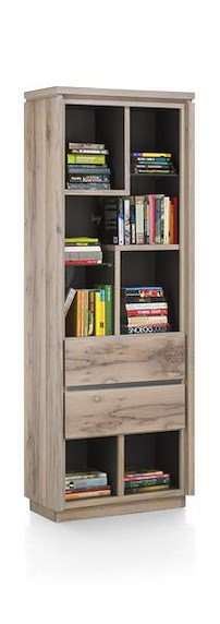 Ermont, Bibliotheque 2-tiroirs + 7-niches - 70 Cm