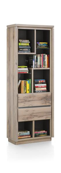 Ermont, Bookcase 2-drawers + 7-niches - 70 Cm