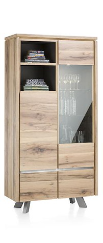 Ermont, Armoire Vitrine 1-porte En Verre+1-porte+2-tiroirs+2-niches(+ Led)