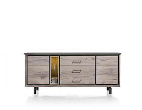 Eivissa, Buffet 2-portes + 3-tiroirs + 2-niches - 210 Cm (+ Led)