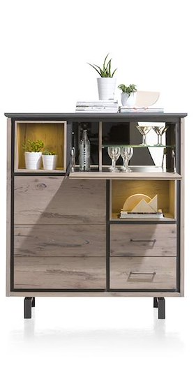 Eivissa, Highboard 1-porte + 2-tiroirs + 1-porte Rabattante+2-niches(+ Led)