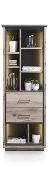 Eivissa, Bibliotheque 2-tiroirs + 8-niches - 70 Cm (+ Led)