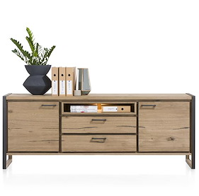 Metalo, Sideboard 2-doors + 2-drawers + 1-niche - 210 Cm (+ Led)