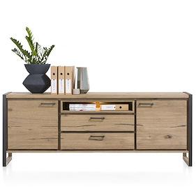 Metalo, Sideboard 2-doors + 2-drawers + 1-niche - 210 Cm (+ Led)