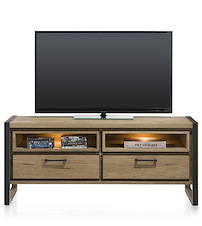 Metalo, Lowboard 2-drawers + 2-niches - 140 Cm (+ Led)