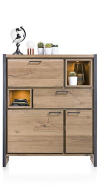 Metalo, Highboard 2-portes + 1-tiroir + 1-porte Abattante + 2-niches (+led)