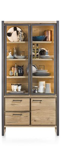 Metalo, Glass Cabinet 2-glass Doors + 1-door + 2-drawers (+ Led)