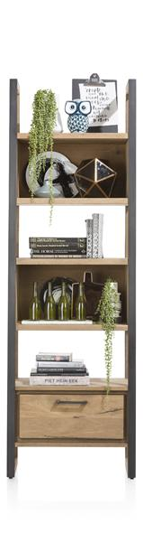 Metalo, Bookcase 1-drawer + 5-niches - 65 Cm