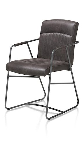 Loet, Armchair - Metal Frame Antracite Colour - Corsica Leather