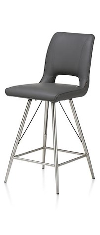 Duncan, Chaise De Bar Inox +tatra Antracite+accent Ou Tatra Charcoal+accent