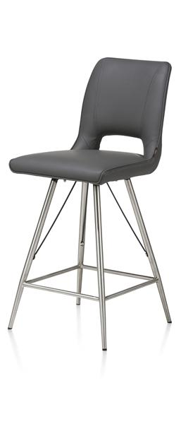 Duncan, Chaise De Bar Inox - Tatra Antracite Ou Tatra Charcoal + Accent
