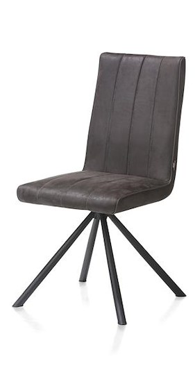 Elza, Dining Chair - 4 Black Legs - Fabric Leopard Anthracite