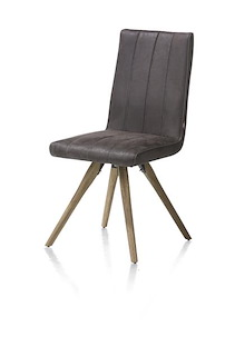 Elza, Dining Chair - Wooden Frame - Fabric Leopard Anthracite