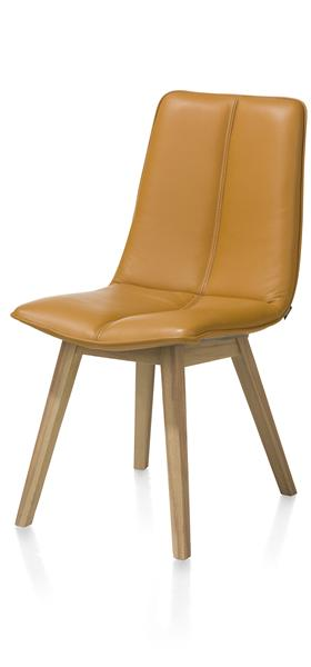 Lito, Dining Chair - Beech Cigar Brown - Pegasso Mustard / Steelblue