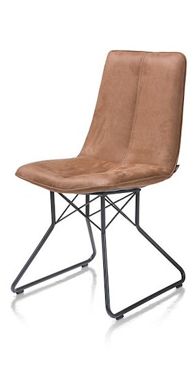 Lisa, Dining Chair - Metal Frame Off Black - Kibo Cognac / Coffee