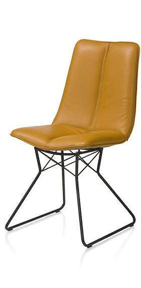 Lito, Dining Chair - Metal Frame Off Black - Pegasso Mustard / Steelblue
