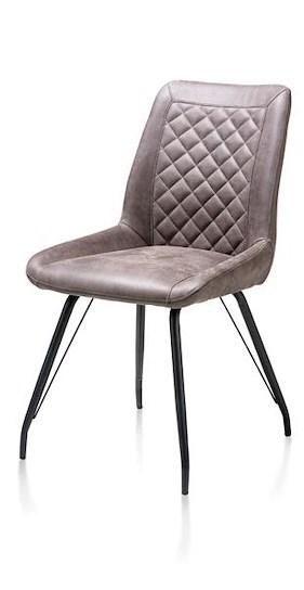 Lena, Chaise 4-pieds Noir + Poignee - Tissu Rocky