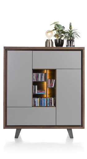 Box, Armoire 2-portes +1-tiroir +1-porte Rabattante +5-niches-125 Cm (+led)