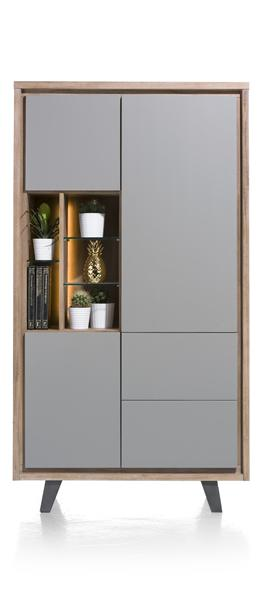 Box, Armoire 110 Cm - 3-portes + 2-tiroirs + 5-niches (+ Led)