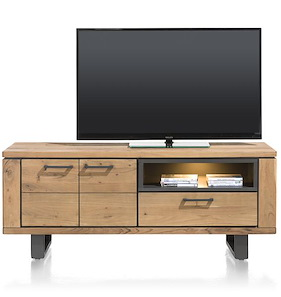 Quebec, Lowboard 2-doors + 1-drawer + 1-niche - 150 Cm (+ Led)