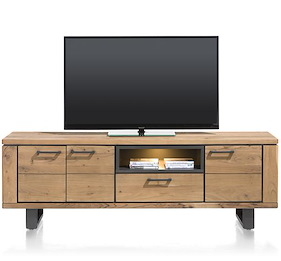 Quebec, Lowboard 3-doors + 1-drawer + 1-niche - 180 Cm (+ Led)