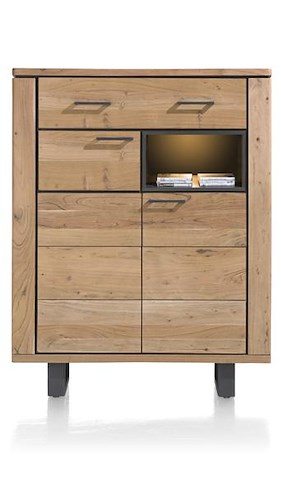 Quebec, Highboard 2-portes + 1-tiroir + 1-niche - 110 Cm (+ Led)