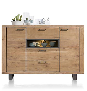 Quebec, Dressette 2-doors + 3-drawers + 1-niche - 180 Cm (+ Led)
