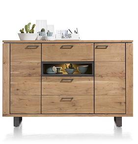 Quebec, Dressette 2-doors + 3-drawers + 1-niche - 180 Cm (+ Led)