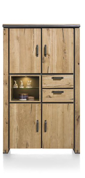 Farmland, Armoire 120 Cm - 4-portes + 2-tiroirs + 2-niches (+ Led)