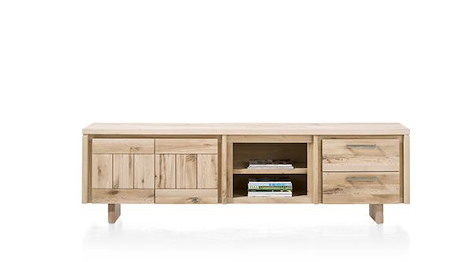 More, lowboard 2-doors + 2-drawers + 2-niches 220 cm - wood-1