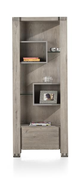 Avola, bookcase 1-drawer + 5-niches - 190 cm-1