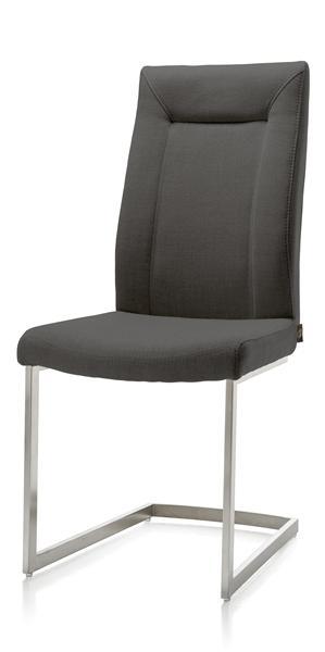 Malene, chaise - pied traineau inox carre avec poignee ronde + tissu Soul