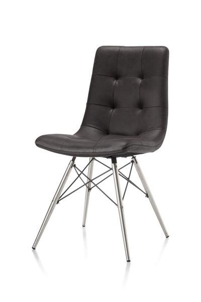 Alegra, chaise inox + pied conique + Leopard antracite-1