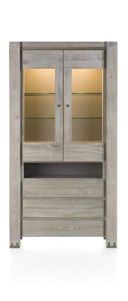 Avola, vitrine 2-portes en verre + 3-tiroirs + 1-niche (+ led)