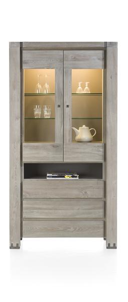 Avola, glass cabinet 2-glassdoors + 3-drawers + 1-niche (+ led)-1