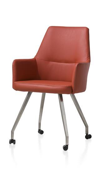 Liam, fauteuil - inox - 4-pieds + roulettes - Tatra 4 couleurs