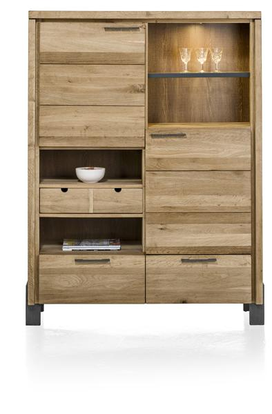 Modrava, armoire 2-portes +2-tiroirs +1-corbeille +4-niches (+LED) - 120 cm-1