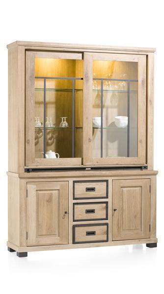 Atelier, vaisellier 2-p.coulissantes en verre + 2-portes + 3-tiroirs(+ LED)-1