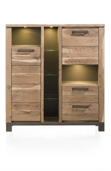 Falster, armoire 2-portes + 2-tiroirs + 6-niches 130 cm (+ LED)