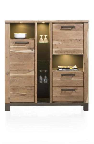 Falster, cabinet 2-doors + 2-drawers + 6-niches 130 cm (+ LED)-1