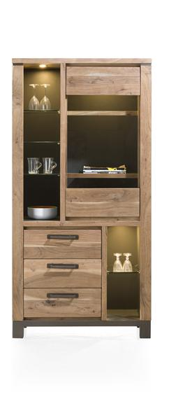 Falster, vitrine 1-porte en verre + 3-tiroirs + 6-niches 95 cm (+ LED)