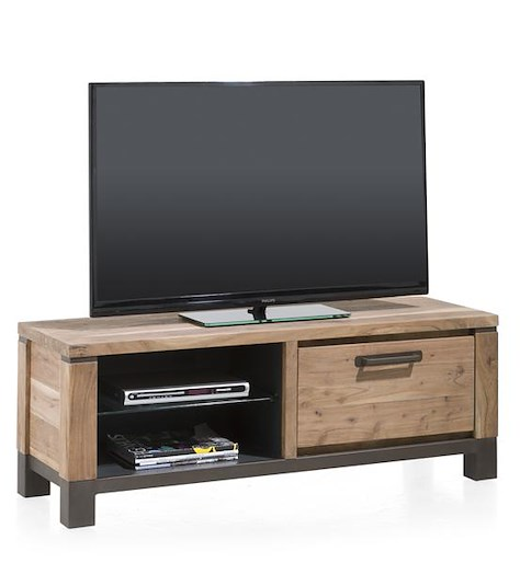 Falster, meuble TV 1-porte rabattante + 2-niches 130 cm