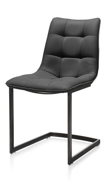 Kate, chair - vintage metal frame - Moreno + piping Moreno anthracite-1