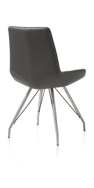 Levi, chaise - pietement inox eiffel - cuir Catania
