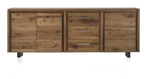 Masters, buffet 3-portes + 3-tiroirs - 220 cm - pieds bois
