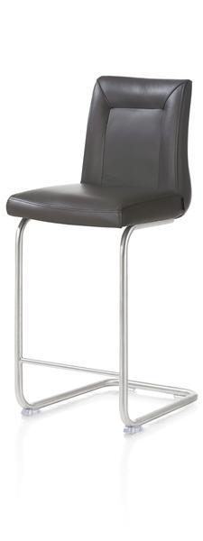 Malvino, chaise bar - pied traineau inox rond avec poignee