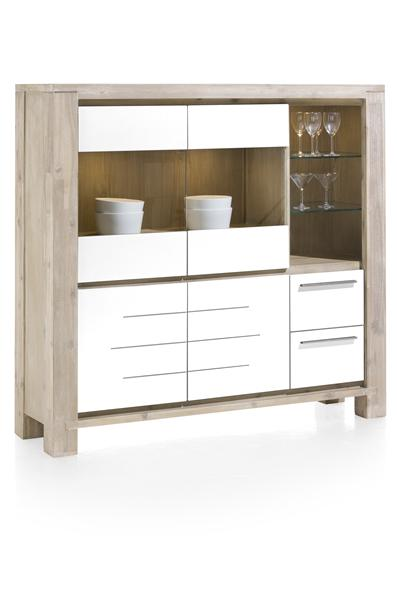 MultiPlus, highboard 2-portes en verre+2-portes+2-tiroirs+3-niches (+ LED)-1