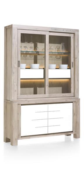 MultiPlus, vaisselier 2-portes en verre + 2-portes + 2-corbeilles (+ LED)